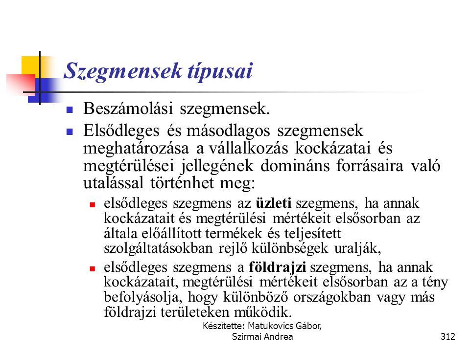 Készítette: Matukovics Gábor, Szirmai Andrea311 Szegmensek típusai  Üzleti szegmensek (business segment) A vállalkozás áruértékesítéssel vagy szolgál