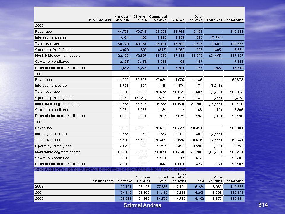 Készítette: Matukovics Gábor, Szirmai Andrea313 Szegmens információk  Cél:  A vállalkozás múltbeli tevékenységének jobb megértése  A vállalkozásban