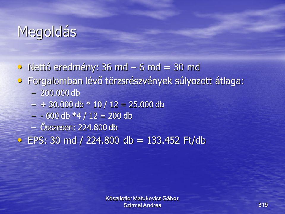 Készítette: Matukovics Gábor, Szirmai Andrea318 Példa az EPS számítására Nettó eredmény:36 milliárd Ft Elsőbbségi osztalék: 6 milliárd Ft Forgalomban