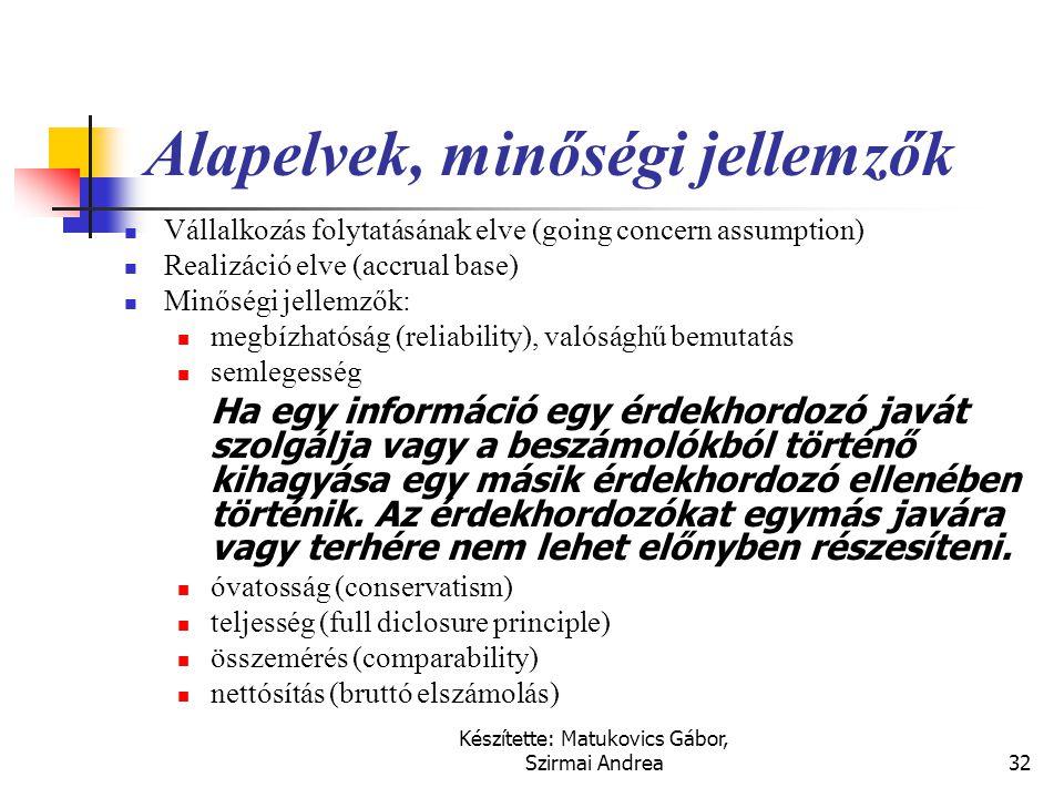 Készítette: Matukovics Gábor, Szirmai Andrea31 Alapelvek a nemzetközi számvitelben
