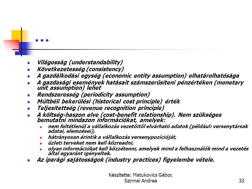 Készítette: Matukovics Gábor, Szirmai Andrea32 Alapelvek, minőségi jellemzők  Vállalkozás folytatásának elve (going concern assumption)  Realizáció