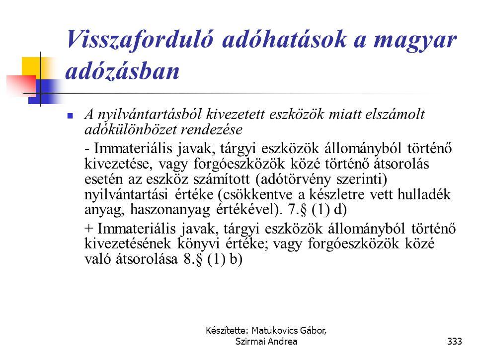 Készítette: Matukovics Gábor, Szirmai Andrea332 Megoldás