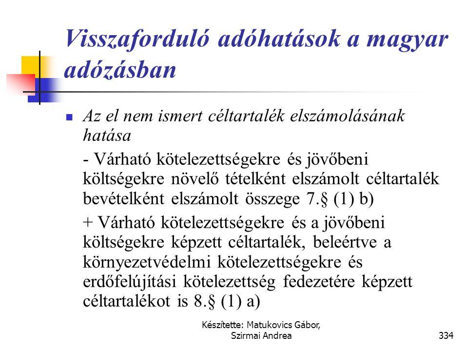 Készítette: Matukovics Gábor, Szirmai Andrea333 Visszaforduló adóhatások a magyar adózásban  A nyilvántartásból kivezetett eszközök miatt elszámolt a