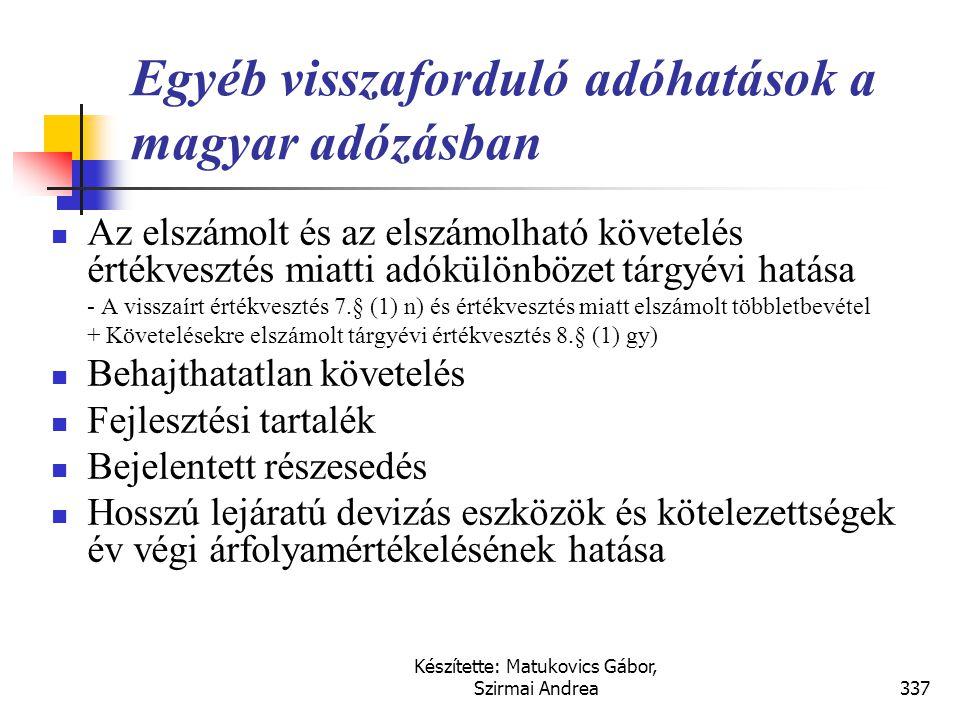 Készítette: Matukovics Gábor, Szirmai Andrea336 Megoldás