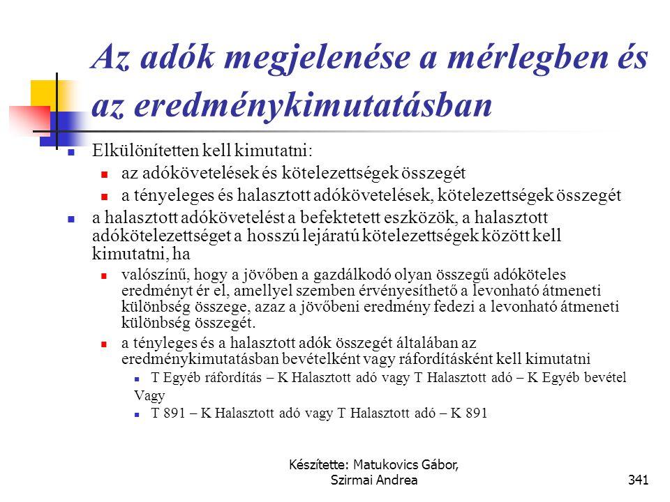 Készítette: Matukovics Gábor, Szirmai Andrea340 Megoldás