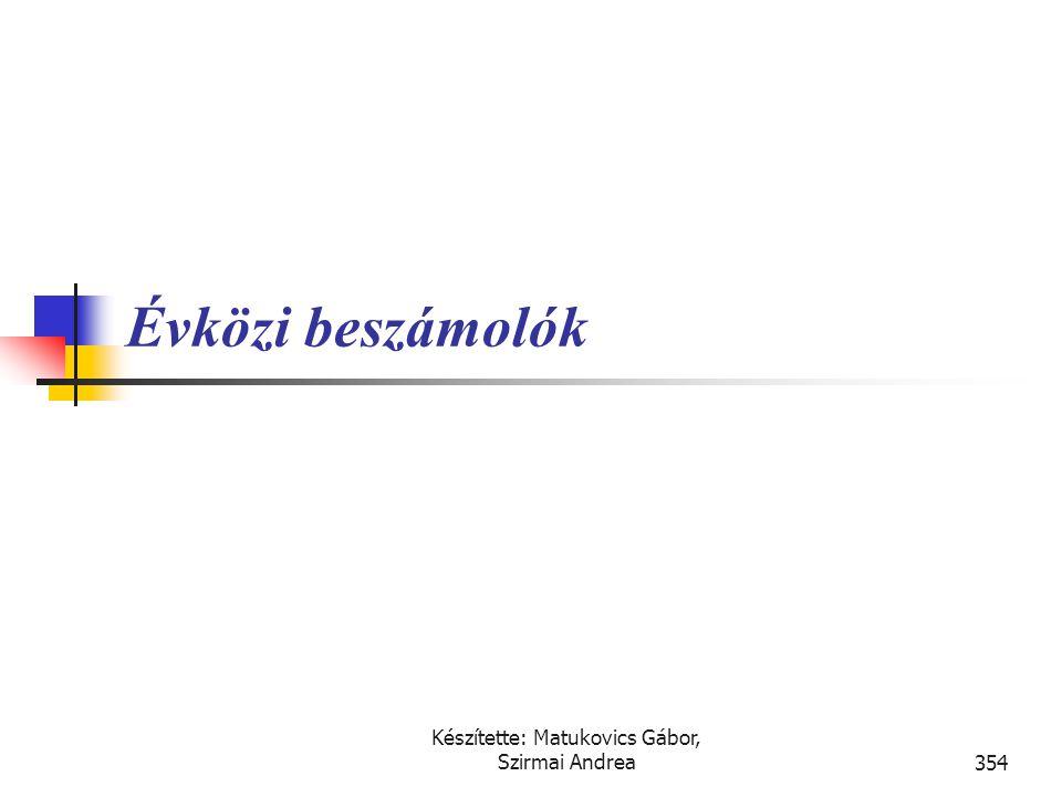 Készítette: Matukovics Gábor, Szirmai Andrea353 Fontosabb kapcsolódó nemzetközi szabályok  IFRS (IAS)  IAS 34., Közbenső pénzügyi beszámoló  IAS 24