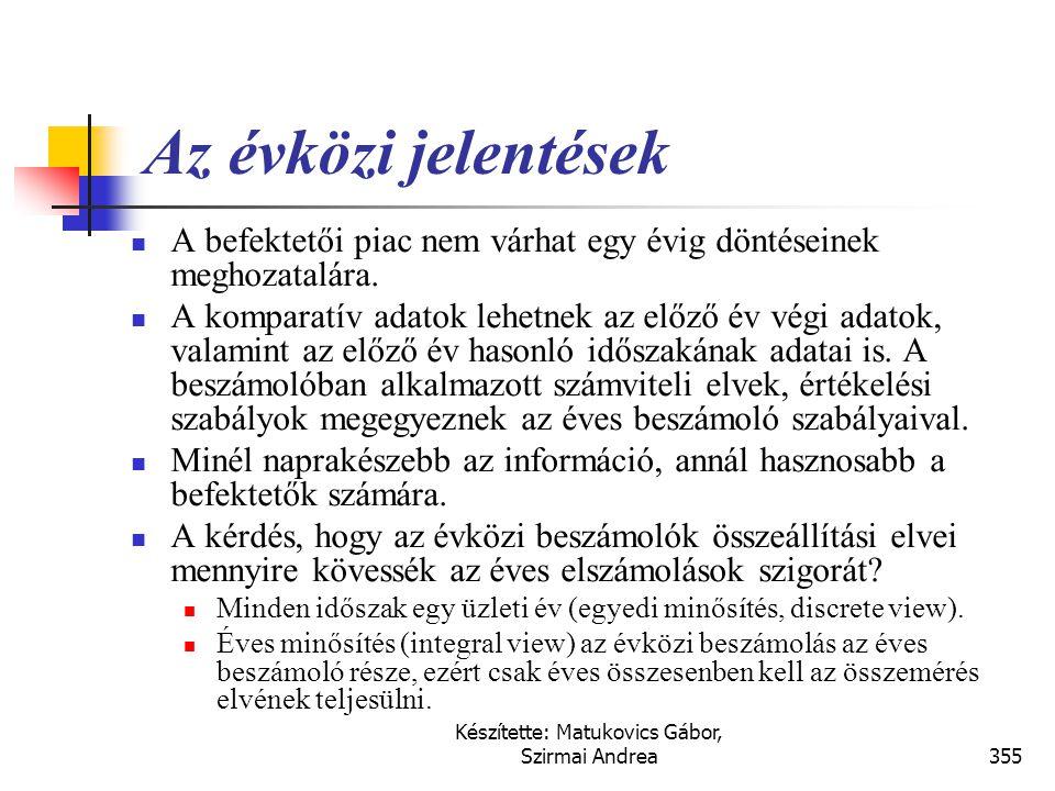 Készítette: Matukovics Gábor, Szirmai Andrea354 Évközi beszámolók