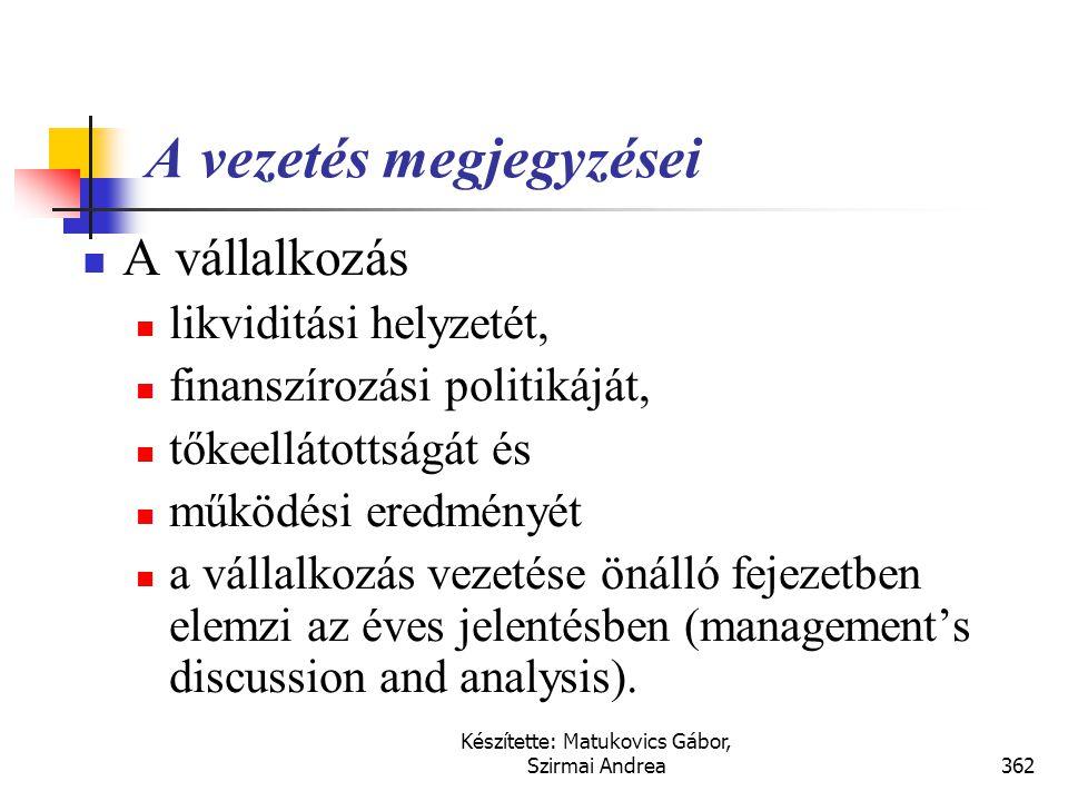 Készítette: Matukovics Gábor, Szirmai Andrea361 Könyvvizsgálói jelentés  tiszta vélemény (hitelesítő záradék, clean or unqualified opinion),  korlát