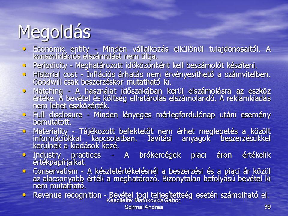 Készítette: Matukovics Gábor, Szirmai Andrea38 Párosítsa a fogalmat a megfelelő tartalommal! • Economic entity • Periodicity • Historial cost • Matchi