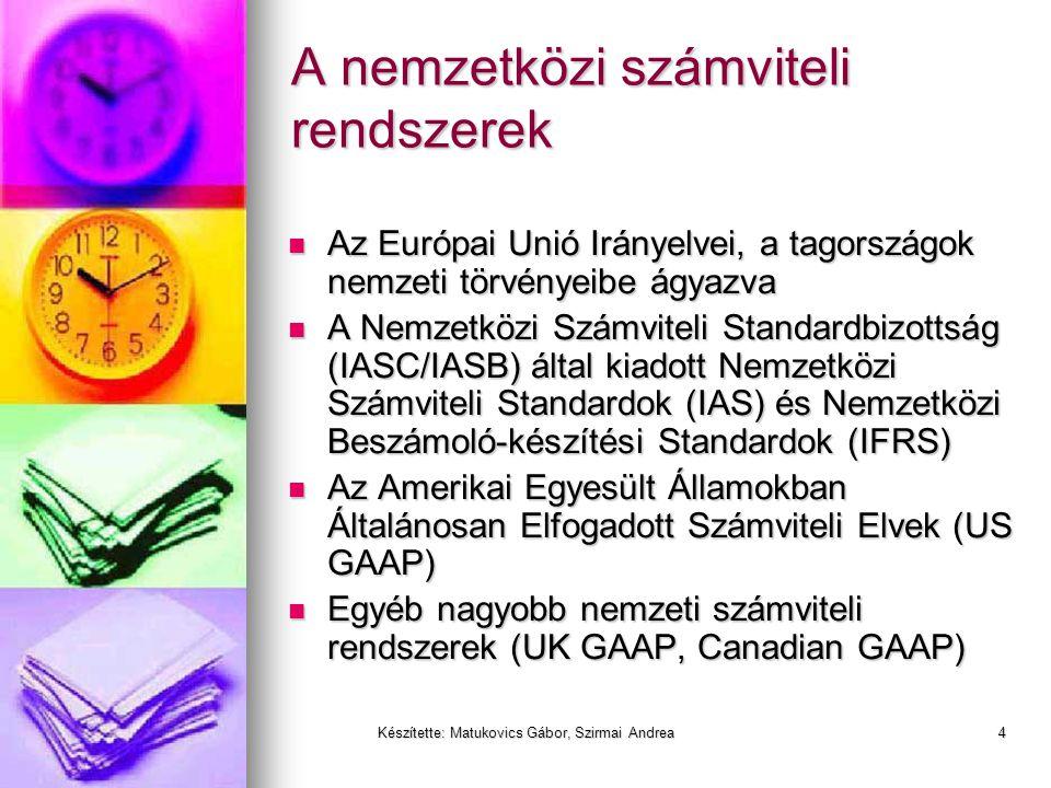 Készítette: Matukovics Gábor, Szirmai Andrea3 A nemzetközi számviteli rendszerek versengése