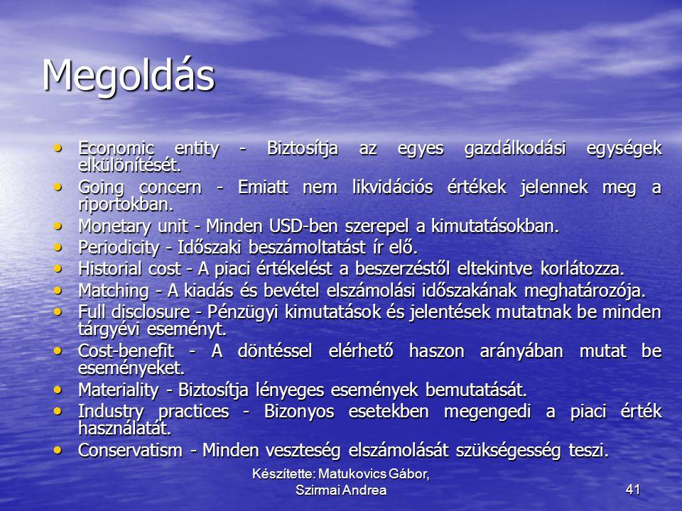 Készítette: Matukovics Gábor, Szirmai Andrea40 Párosítsa a fogalmat a megfelelő tartalommal! • Economic entity • Going concern • Monetary unit • Perio