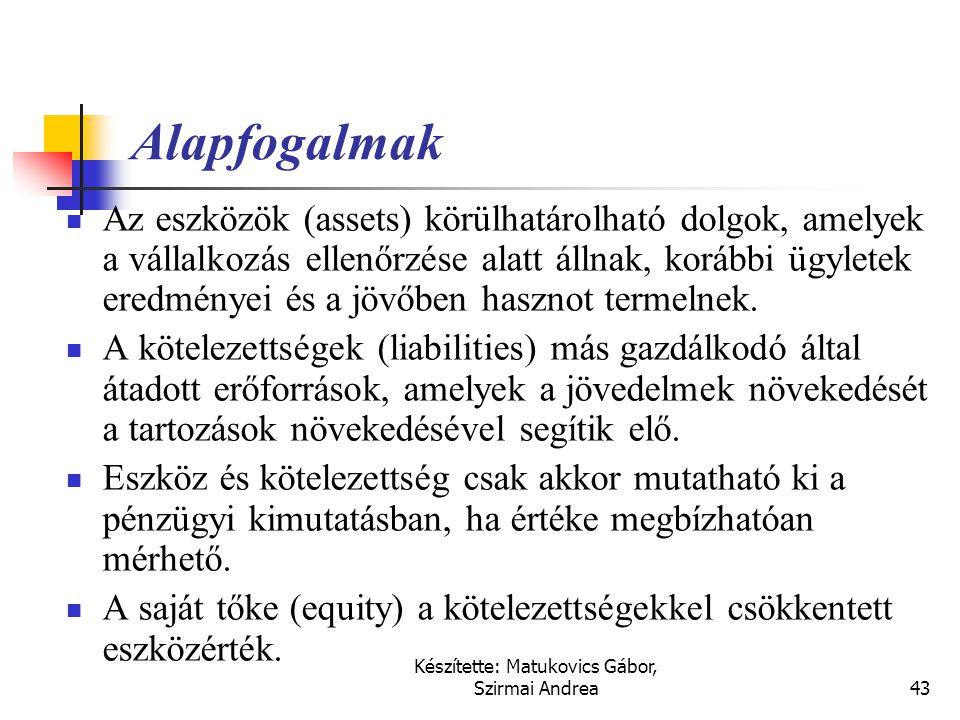 Készítette: Matukovics Gábor, Szirmai Andrea42 Alapfogalmak a nemzetközi számvitelben