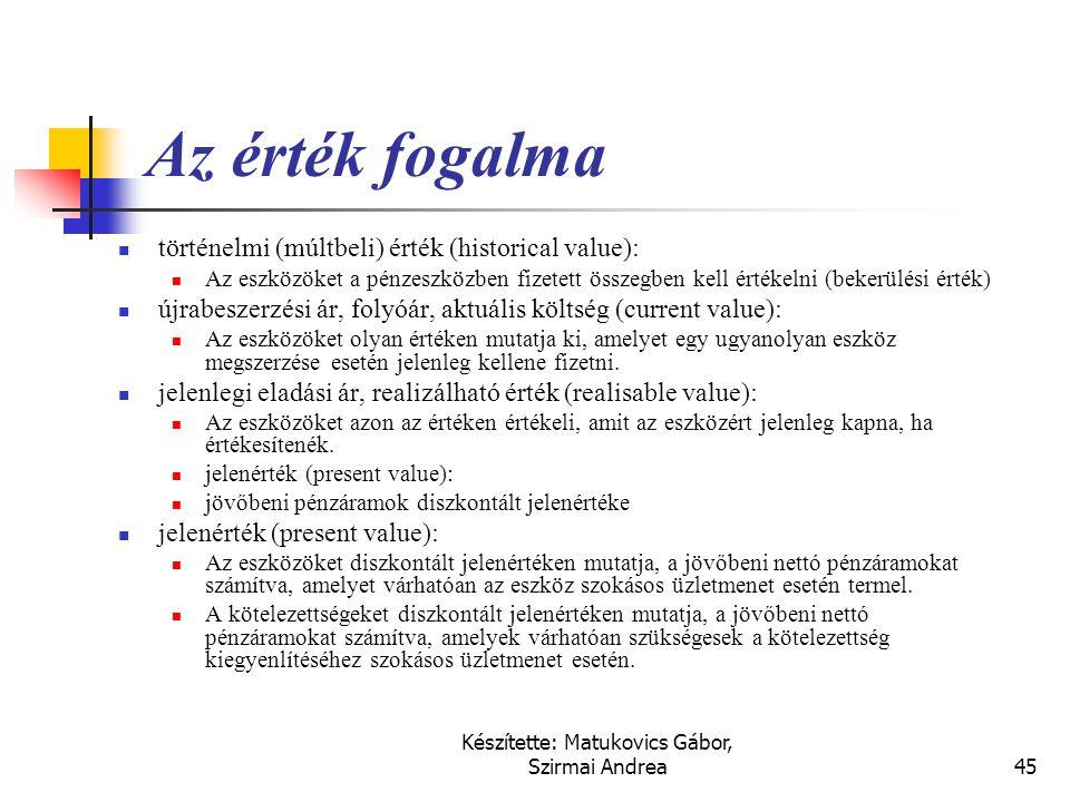 Készítette: Matukovics Gábor, Szirmai Andrea44 Kiemelt angol fogalmak  Event = gazdasági esemény, külső és belső események  Transaction = ügyletek,