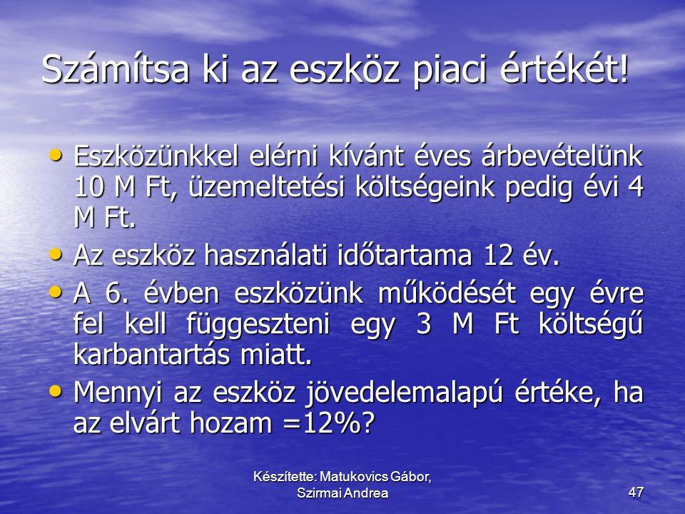 Készítette: Matukovics Gábor, Szirmai Andrea46 Az érték hierarchiája Piaci ár Piaci összehasonlító ár Jövedelemalapú értékelés Költség alapú értékelés
