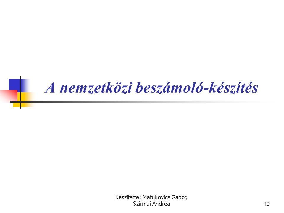 Készítette: Matukovics Gábor, Szirmai Andrea48 Megoldás