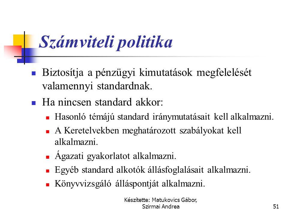 Készítette: Matukovics Gábor, Szirmai Andrea50 Következetesség – Választható módszerek  Ha egy vagy több választható módszer is van: Megengedett alte