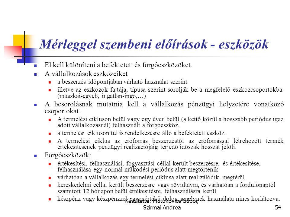 Készítette: Matukovics Gábor, Szirmai Andrea53 A mérleg szerkezete  Tartalmazza a mérleg minimális sorait, amely továbbrészletezhető  Az eszközbesor