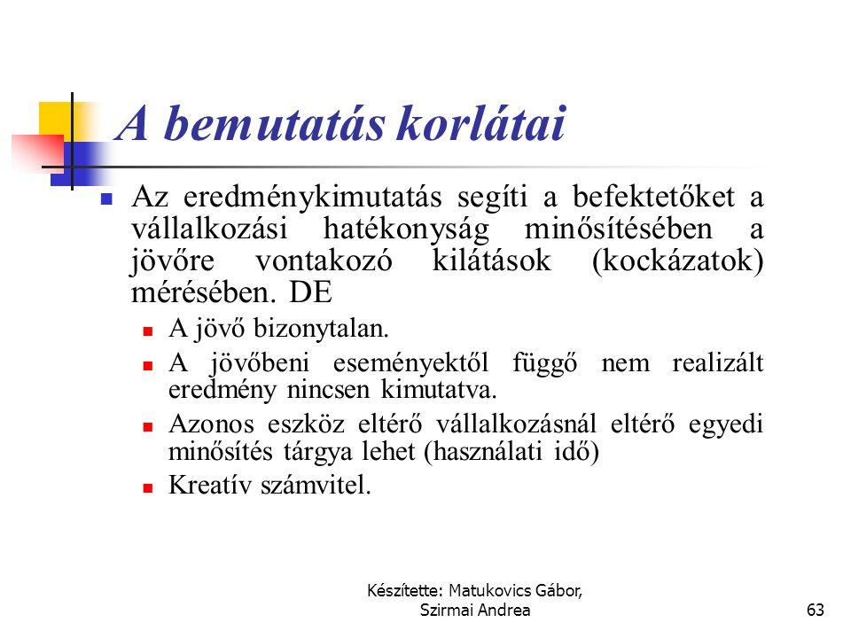 Készítette: Matukovics Gábor, Szirmai Andrea62 Az eredmény-kimutatás összeállítása