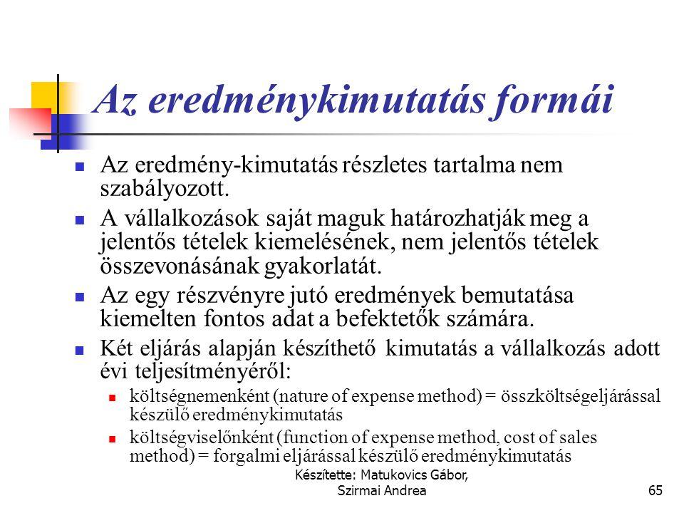 Készítette: Matukovics Gábor, Szirmai Andrea64 Kreatív számvitel  A kreatív számvitel torzító elemei:  az eszközök eladása és visszavásárlása,  ind