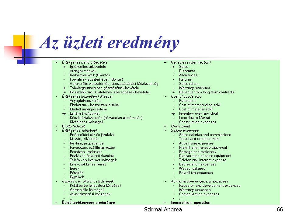 Készítette: Matukovics Gábor, Szirmai Andrea65 Az eredménykimutatás formái  Az eredmény-kimutatás részletes tartalma nem szabályozott.  A vállalkozá