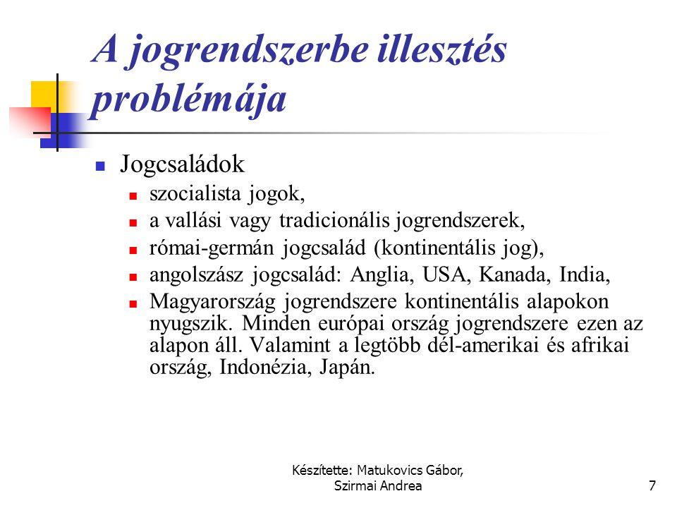 Készítette: Matukovics Gábor, Szirmai Andrea6 A harmonizáció akadályai  Nacionalizmus: más ország normáit nem hajlandóak elfogadni  Gazdasági, jogi
