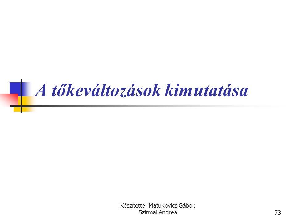 Készítette: Matukovics Gábor, Szirmai Andrea72