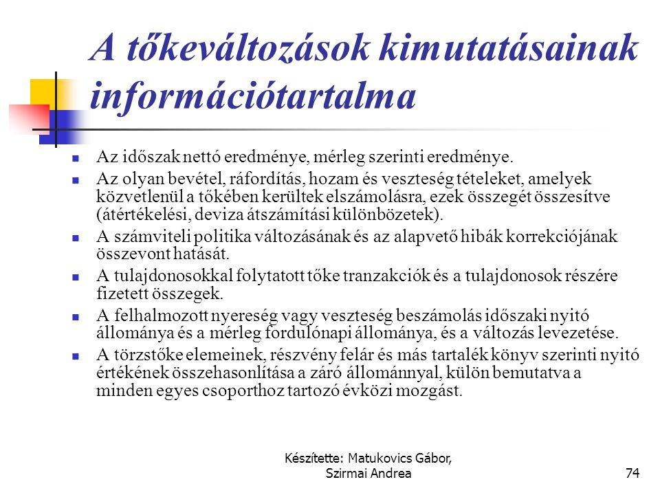 Készítette: Matukovics Gábor, Szirmai Andrea73 A tőkeváltozások kimutatása