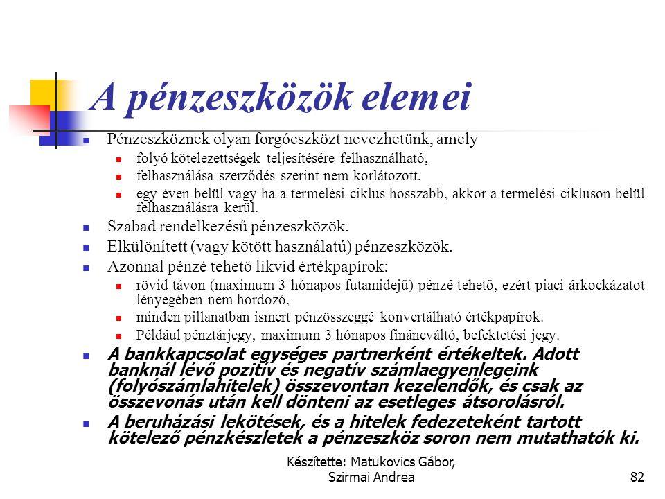Készítette: Matukovics Gábor, Szirmai Andrea81 Fontosabb kapcsolódó nemzetközi szabályok  IFRS (IAS)  IAS 32 és IAS 39 Pénzügyi befektetések elszámo