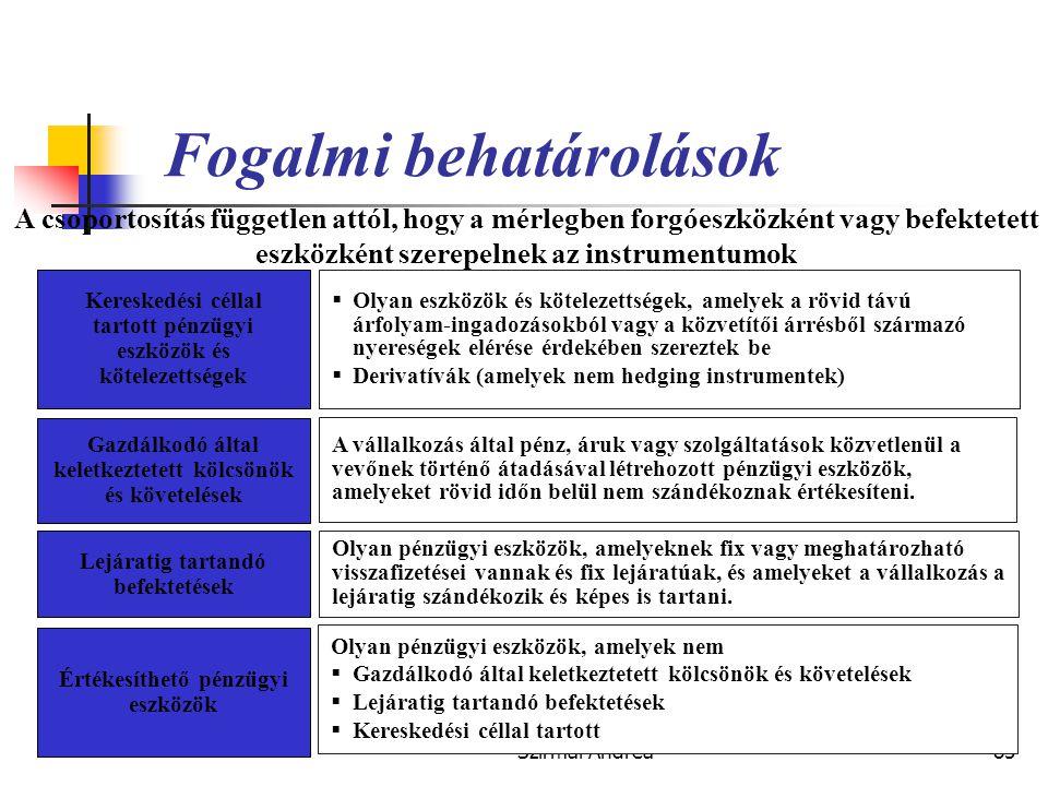 Készítette: Matukovics Gábor, Szirmai Andrea84 Fontosabb kapcsolódó nemzetközi szabályok  IFRS (IAS)  IAS 32 és IAS 39 Pénzügyi befektetések elszámo