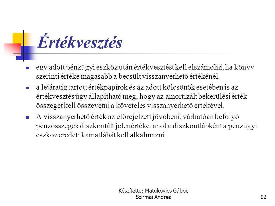 Készítette: Matukovics Gábor, Szirmai Andrea91 Hitelviszonyt megtestesítő egyéb értékpapírok értékelése