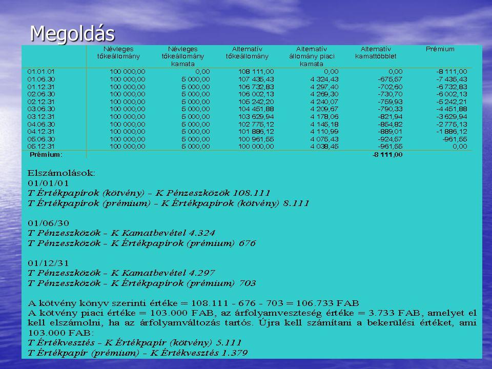 Készítette: Matukovics Gábor, Szirmai Andrea 94 Érdemes-e kötvénybe fektetnünk? • Egy kötvény, melynek kibocsátási névértéke (01/01/01-én) 100.000 FAB
