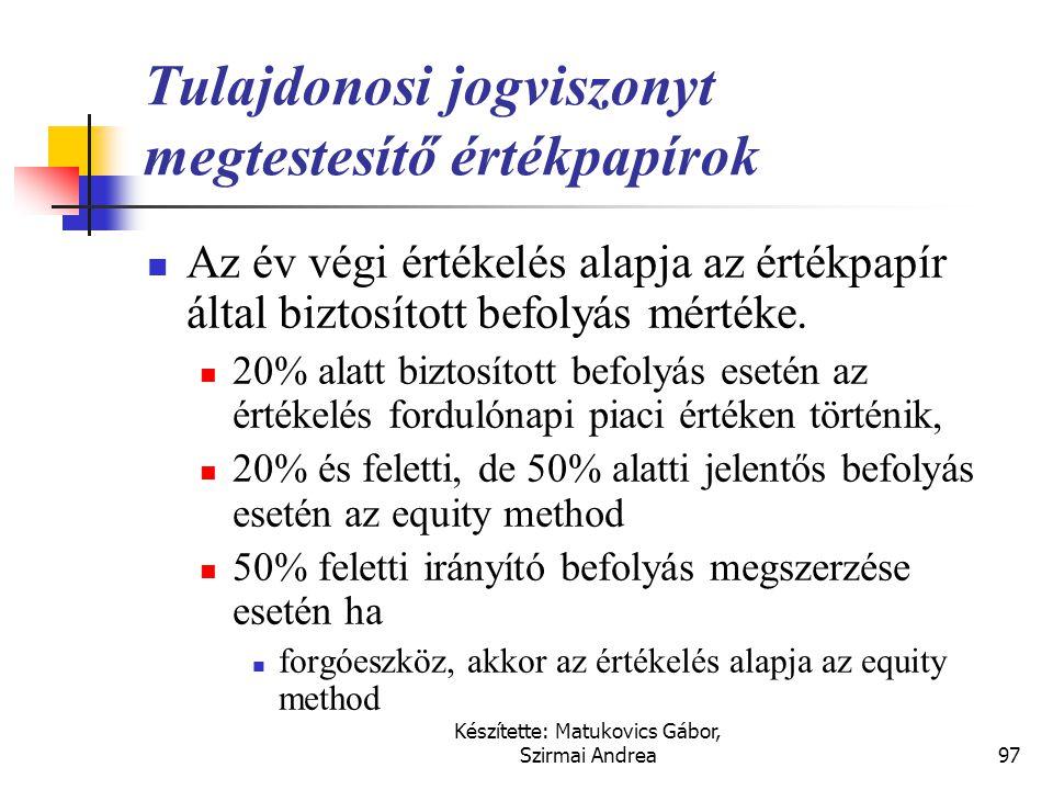 Készítette: Matukovics Gábor, Szirmai Andrea96 Tulajdonosi jogviszonyt megtestesítő értékpapírok