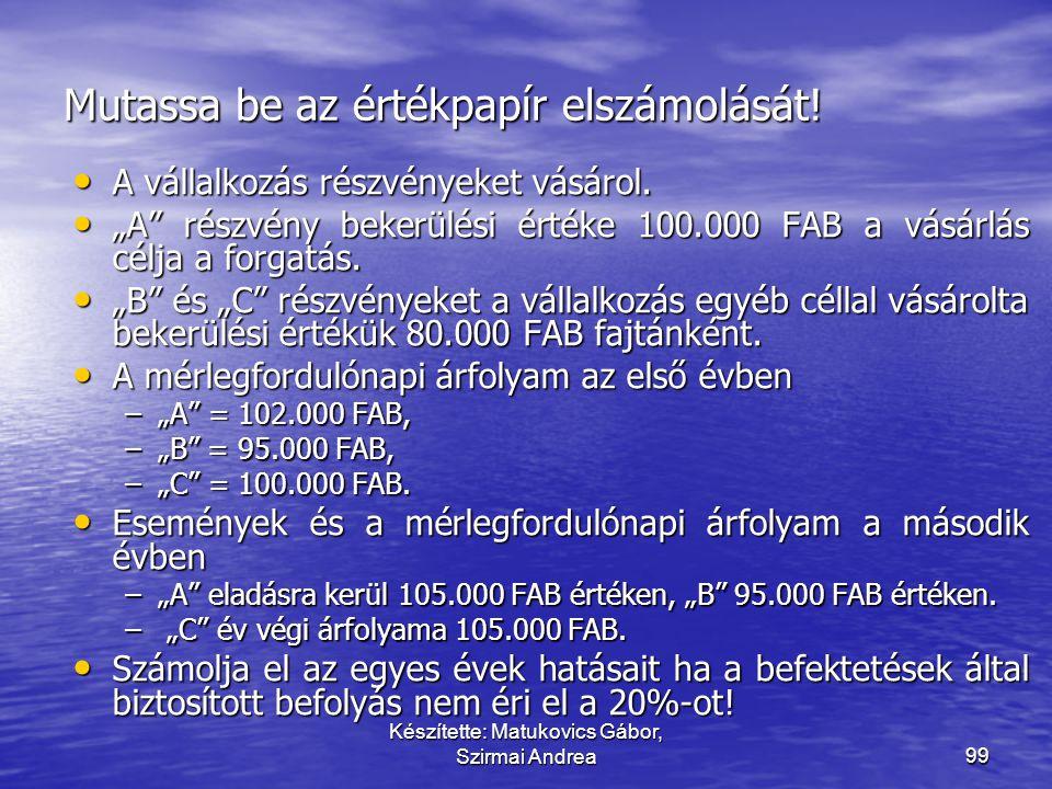 Készítette: Matukovics Gábor, Szirmai Andrea98 Tulajdonosi viszonyt megtestesítő < 20%