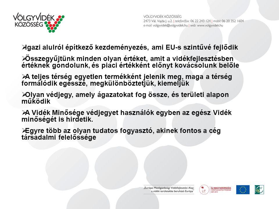  Igazi alulról építkező kezdeményezés, ami EU-s szintűvé fejlődik  Összegyűjtünk minden olyan értéket, amit a vidékfejlesztésben értéknek gondolunk, és piaci értékként előnyt kovácsolunk belőle  A teljes térség egyetlen termékként jelenik meg, maga a térség formálódik egésszé, megkülönböztetjük, kiemeljük  Olyan védjegy, amely ágazatokat fog össze, és területi alapon működik  A Vidék Minősége védjegyet használók egyben az egész Vidék minőségét is hirdetik.