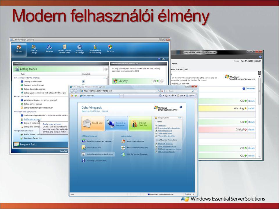 Üzleti hatékonyság - mobilitás Irodán kívüli munka Email, naptár Alkalmazások Files Intranet Távoli PC hozzáférés