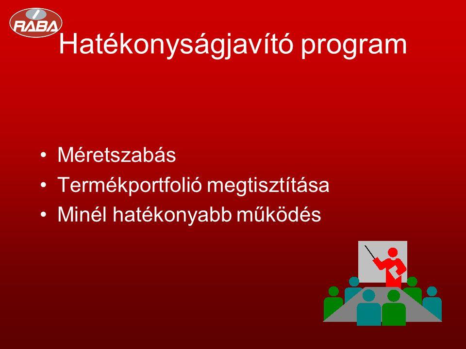 Hatékonyságjavító program •Méretszabás •Termékportfolió megtisztítása •Minél hatékonyabb működés