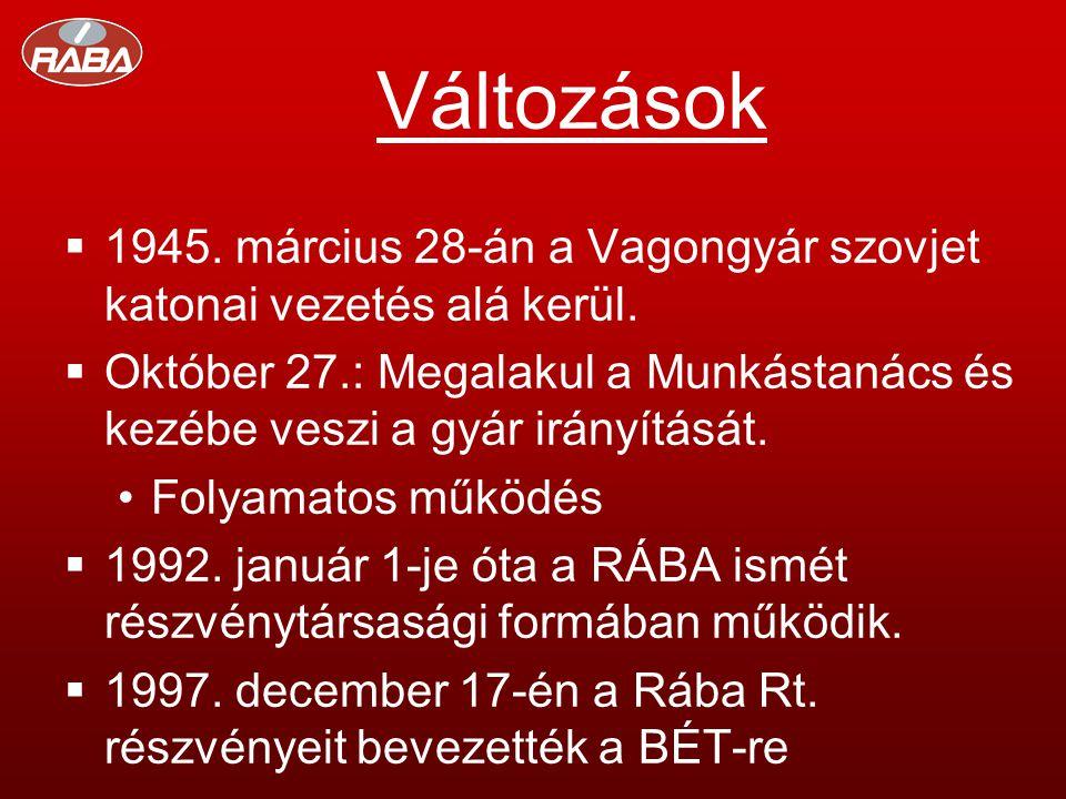 Változások  1945. március 28-án a Vagongyár szovjet katonai vezetés alá kerül.