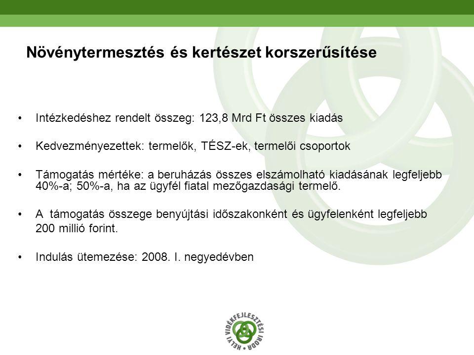 16 Növénytermesztés és kertészet korszerűsítése •Intézkedéshez rendelt összeg: 123,8 Mrd Ft összes kiadás •Kedvezményezettek: termelők, TÉSZ-ek, terme
