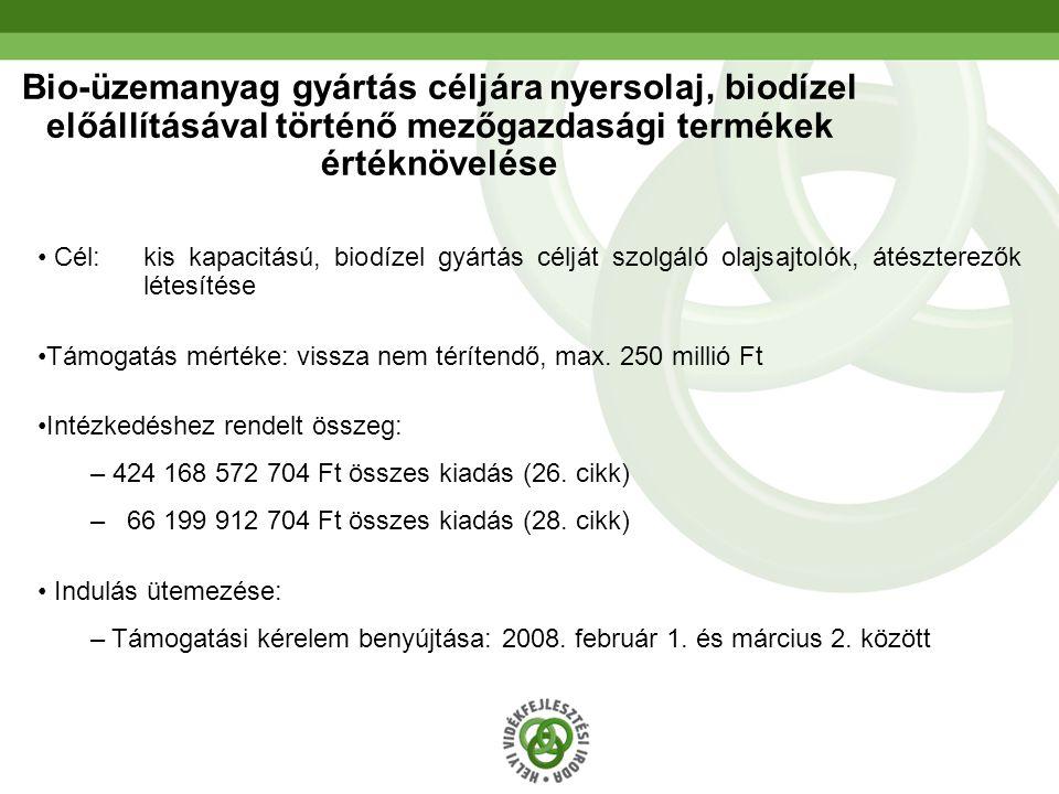 21 Bio-üzemanyag gyártás céljára nyersolaj, biodízel előállításával történő mezőgazdasági termékek értéknövelése • Cél: kis kapacitású, biodízel gyárt