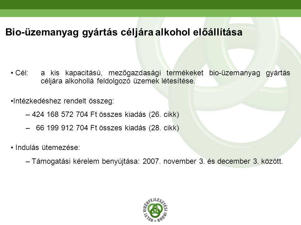 22 Bio-üzemanyag gyártás céljára alkohol előállítása • Cél: a kis kapacitású, mezőgazdasági termékeket bio-üzemanyag gyártás céljára alkohollá feldolg