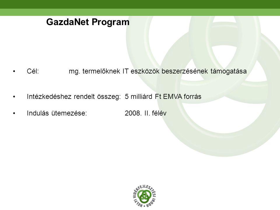 27 GazdaNet Program •Cél: mg. termelőknek IT eszközök beszerzésének támogatása •Intézkedéshez rendelt összeg: 5 milliárd Ft EMVA forrás •Indulás üteme