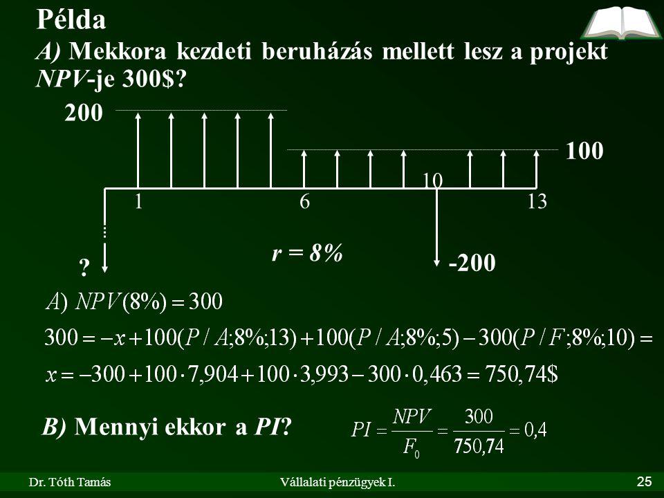 Dr. Tóth TamásVállalati pénzügyek I.25 Példa A) Mekkora kezdeti beruházás mellett lesz a projekt NPV-je 300$? 200 100 r = 8% 1613 ? -200 10 B) Mennyi