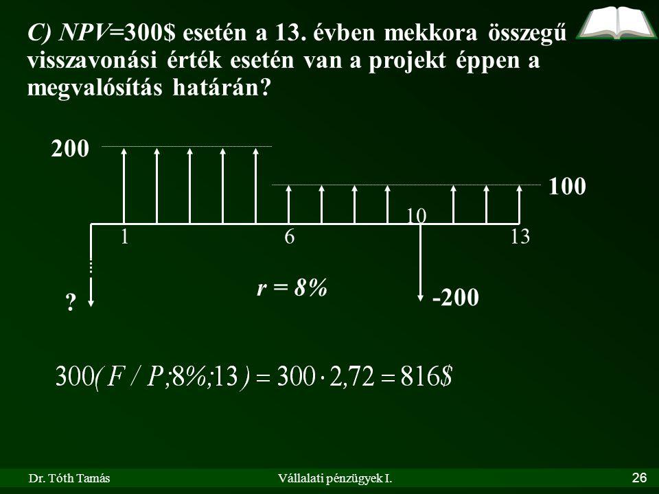 Dr. Tóth TamásVállalati pénzügyek I.26 200 100 r = 8% 1613 ? -200 10 C) NPV=300$ esetén a 13. évben mekkora összegű visszavonási érték esetén van a pr