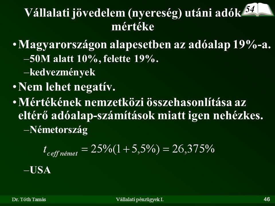Dr. Tóth TamásVállalati pénzügyek I.46 Vállalati jövedelem (nyereség) utáni adók mértéke •Magyarországon alapesetben az adóalap 19%-a. –50M alatt 10%,