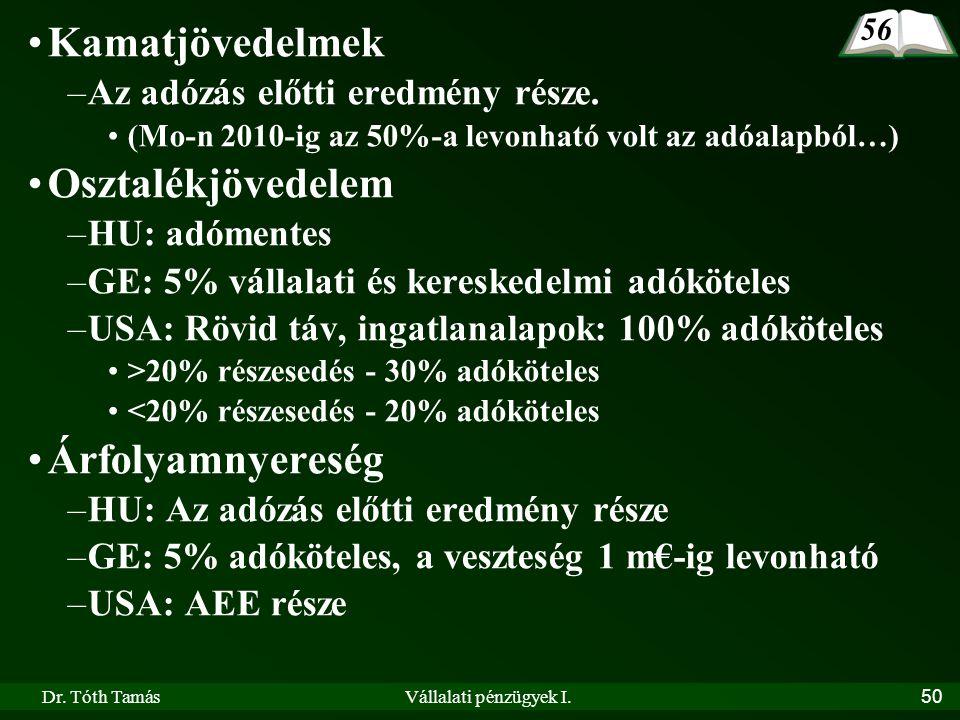 Dr. Tóth TamásVállalati pénzügyek I.50 •Kamatjövedelmek –Az adózás előtti eredmény része. •(Mo-n 2010-ig az 50%-a levonható volt az adóalapból…) •Oszt