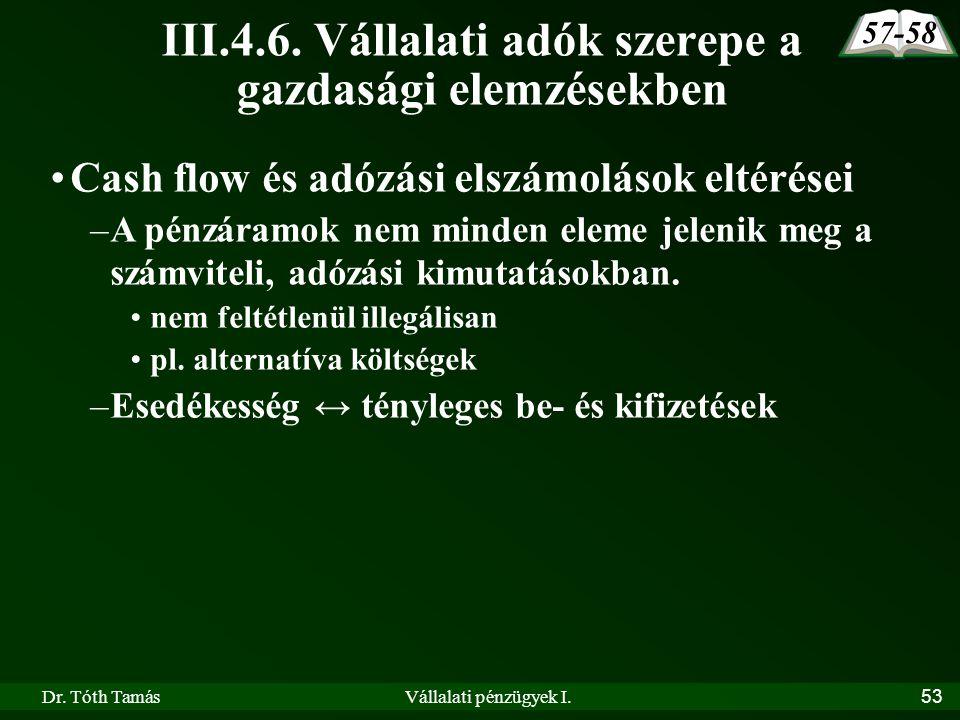 Dr. Tóth TamásVállalati pénzügyek I.53 III.4.6. Vállalati adók szerepe a gazdasági elemzésekben 57-58 •Cash flow és adózási elszámolások eltérései –A