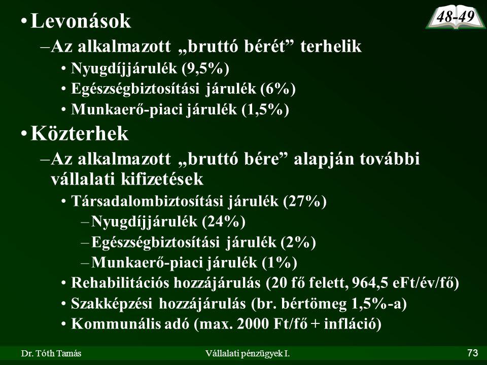 """Dr. Tóth TamásVállalati pénzügyek I.73 •Levonások –Az alkalmazott """"bruttó bérét"""" terhelik •Nyugdíjjárulék (9,5%) •Egészségbiztosítási járulék (6%) •Mu"""