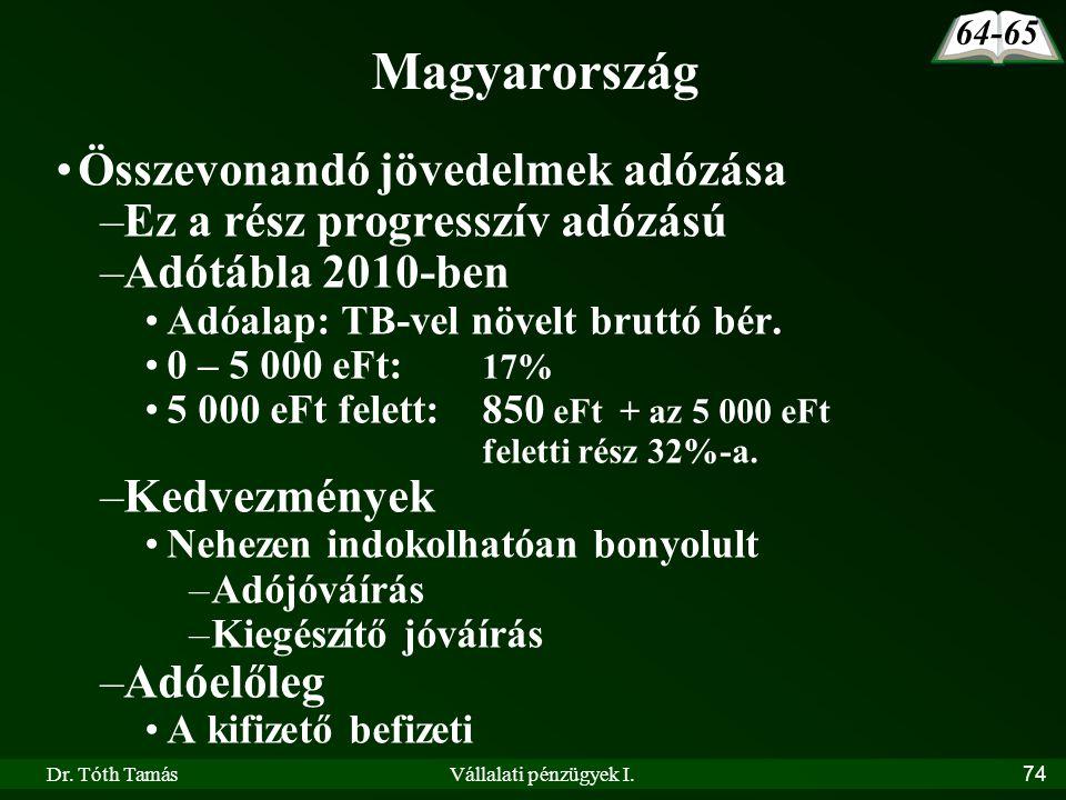 Dr. Tóth TamásVállalati pénzügyek I.74 Magyarország •Összevonandó jövedelmek adózása –Ez a rész progresszív adózású –Adótábla 2010-ben •Adóalap: TB-ve