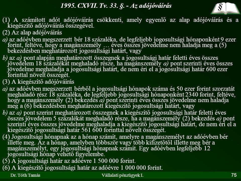 Dr. Tóth TamásVállalati pénzügyek I.75 1995. CXVII. Tv. 33. §. - Az adójóváírás (1) A számított adót adójóváírás csökkenti, amely egyenlő az alap adój