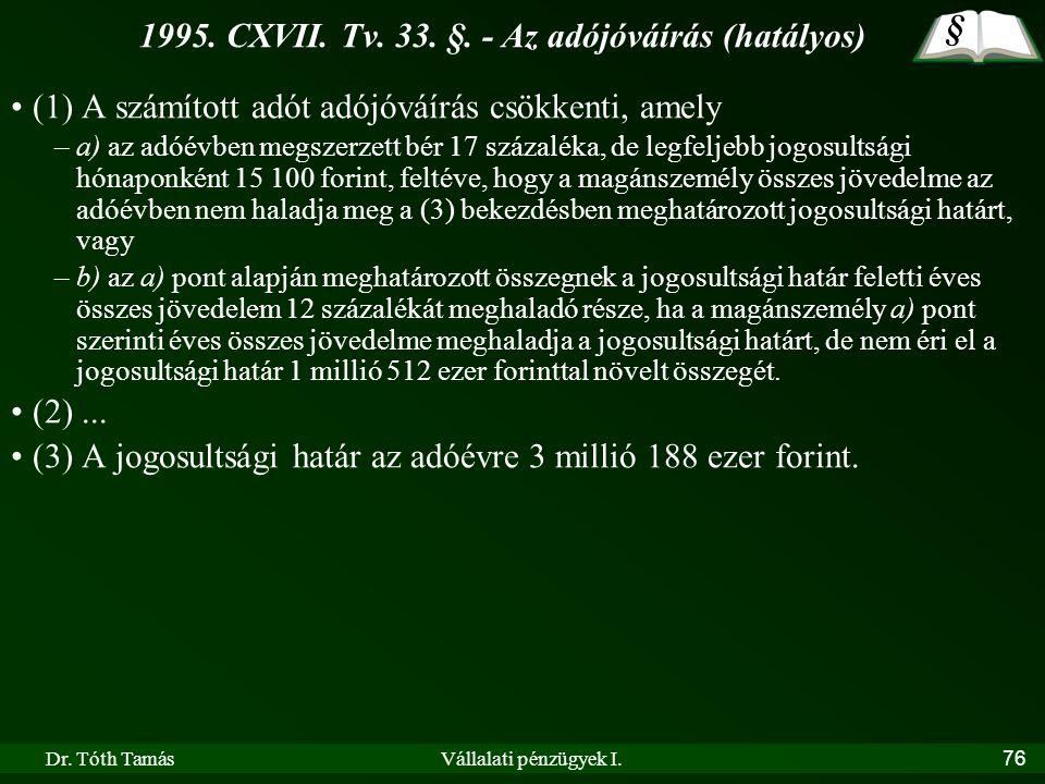 Dr. Tóth TamásVállalati pénzügyek I.76 1995. CXVII. Tv. 33. §. - Az adójóváírás (hatályos) •(1) A számított adót adójóváírás csökkenti, amely –a) az a